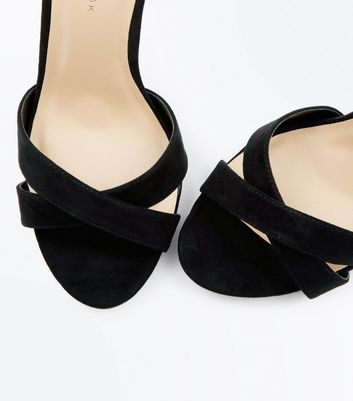 Wide Fit Black Suedette Cone Heeled Sandals New Look