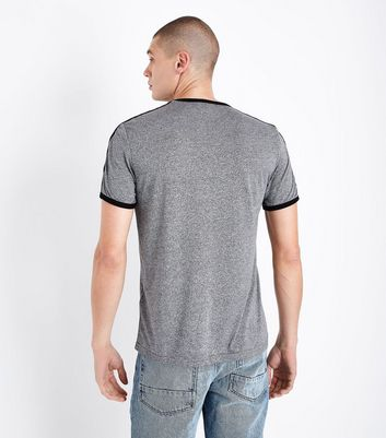 Charcoal Grey Stripe Tape Sleeve T-Shirt New Look
