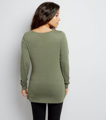 Maternity Khaki Ruched Side Long Sleeved Top New Look