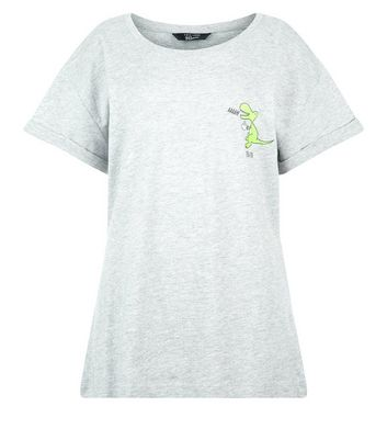 Teens Grey Tea Rex Slogan T-Shirt New Look
