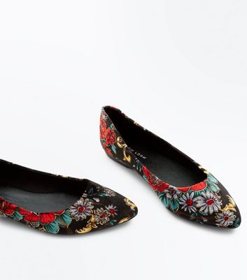 Black Suedette Floral Print Pointed Pumps New Look