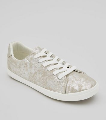 Silver Textured Lace Up Trainers