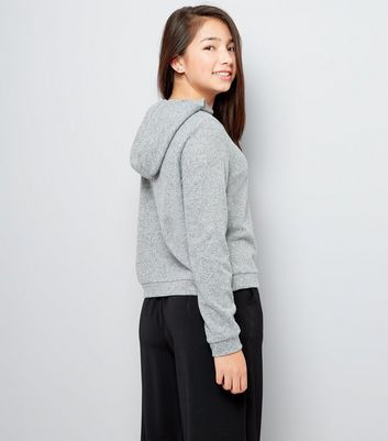 Teens Grey Brushed Hoodie New Look