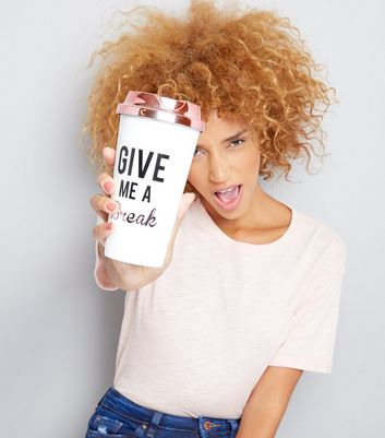 White Give Me A Break Travel Coffee Cup New Look