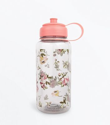 Pink Floral Water Bottle New Look