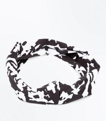 Monochrome Marble Print Stretch Headband New Look