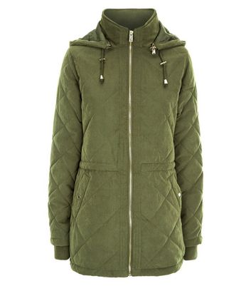 Khaki Quilted Lightweight Parka Jacket New Look