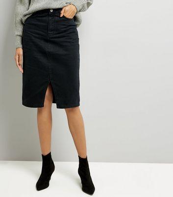 Black Denim Midi Pencil Skirt New Look