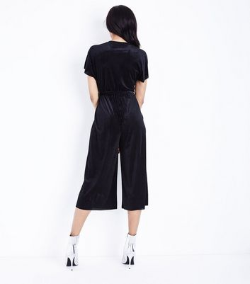 Black Ribbed Velvet Wrap Front Jumpsuit New Look