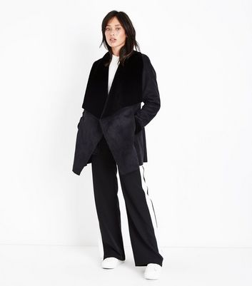 Black Suedette Waterfall Jacket New Look