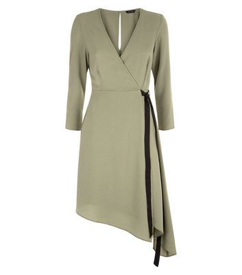 Khaki Asymmetric Midi Wrap Dress New Look