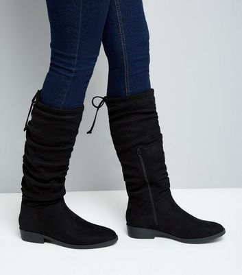 Black Suedette Flat Slouch Boots   New Look