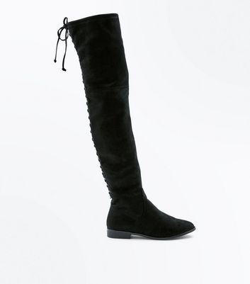 Black Suedette Lace Up Back Boots New Look