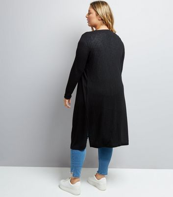 Curves Black Ribbed Midi Cardigan New Look