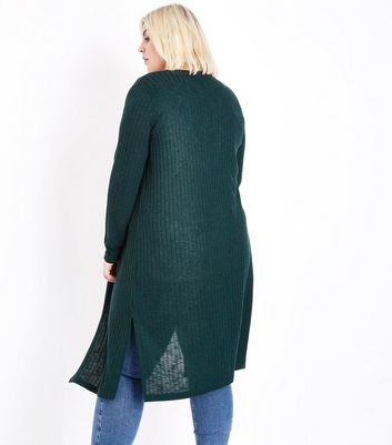 Curves Dark Green Ribbed Midi Cardigan New Look