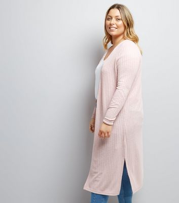 Curves Pink Ribbed Midi Cardigan New Look