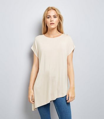 Stone Asymmetric Hem T-Shirt New Look