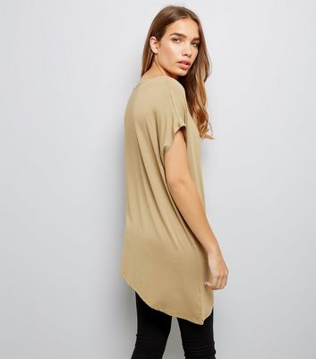 Khaki Asymmetric Hem T-Shirt New Look