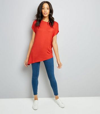 Red Asymmetric Hem T-Shirt New Look