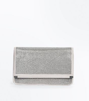Nude Diamante Embellished Foldover Clutch Bag New Look
