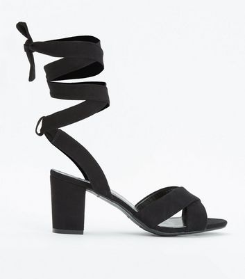 Teens Black Suedette Ankle Tie Heeled Sandals New Look