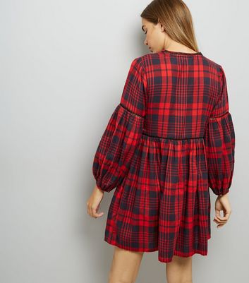 Red Check Embroidered Smock Dress New Look