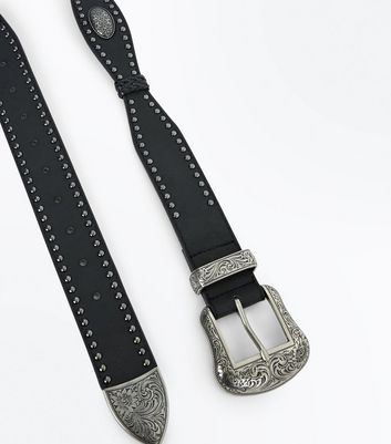 Black Stud Western Belt New Look