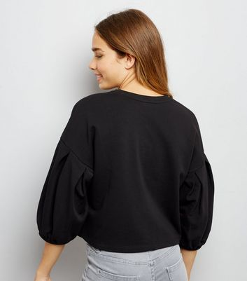 Black Balloon Sleeve Sweatshirt New Look