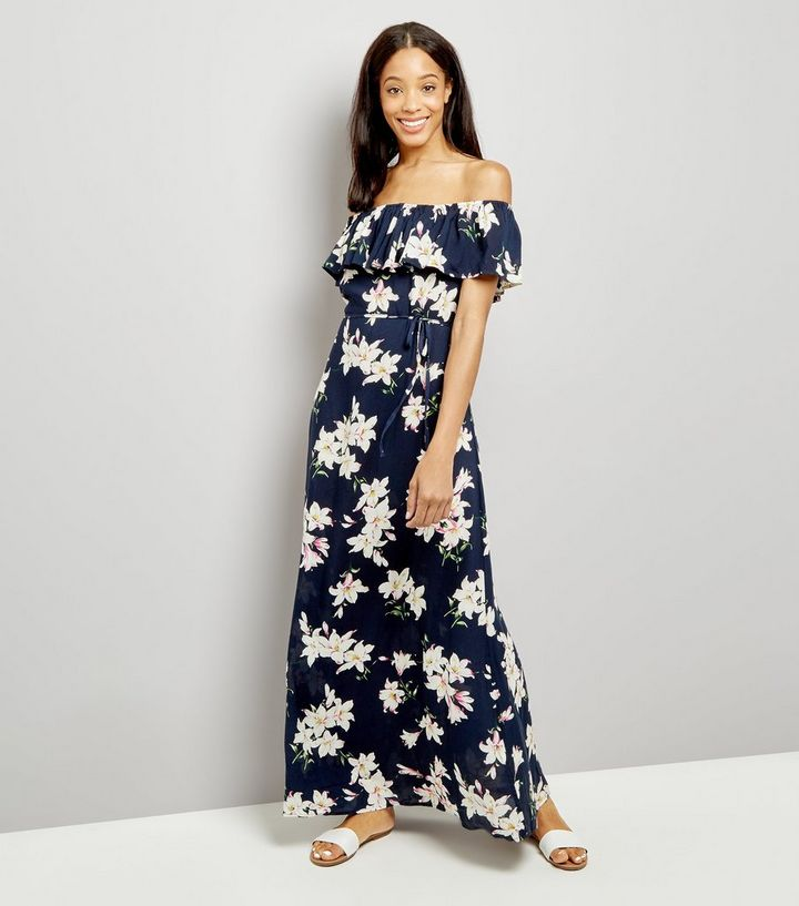 5cb9ef896587 AX Paris Navy Floral Print Bardot Neck Maxi Dress