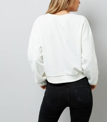 White Eyelet Lace Up Cropped Sweater New Look