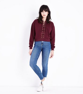 Burgundy Lace Up Front Cropped Sweatshirt New Look