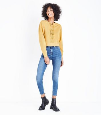 Mustard Stripe Lace Up Front Sweatshirt New Look