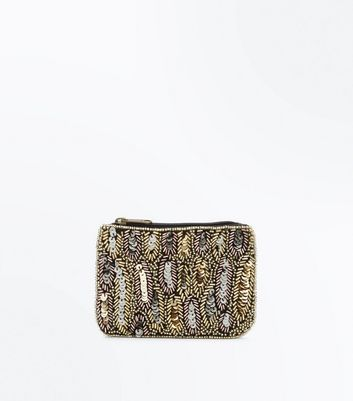 Gold Feather Embellished Zip Top Purse New Look