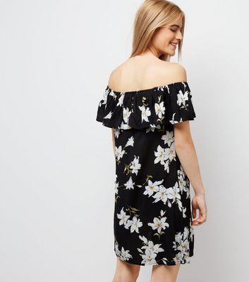AX Paris Black Floral Frill Bardot Dress New Look
