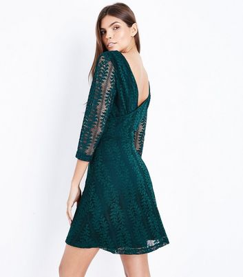Dark Green Lace Sleeve Wrap Dress New Look