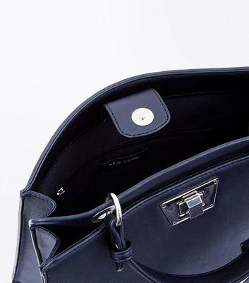 Black Top Handle Luggage Tag Bag New Look