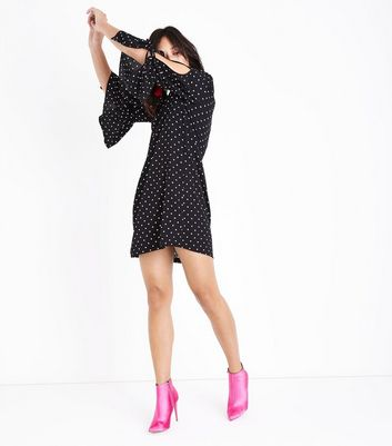 Black Polka Dot Tie Bell Sleeve Tunic Dress New Look