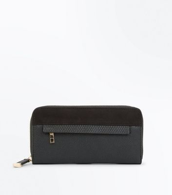 Black Contrast Panel Zip Front Purse New Look
