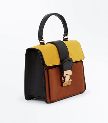 Orange Colour Block Top Handle Bag New Look