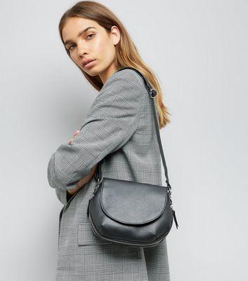 Black Zip Trim Saddle Bag New Look