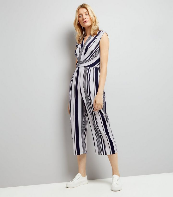 52ebb6dcc71 AX Paris Blue Stripe Wrap Front Jumpsuit