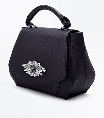 Black Diamante Front Top Handle Bag New Look