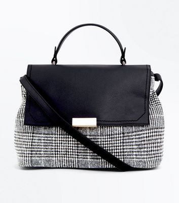 Black Check Pattern Satchel New Look
