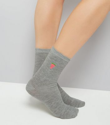 Grey Embroidered Melon Socks New Look