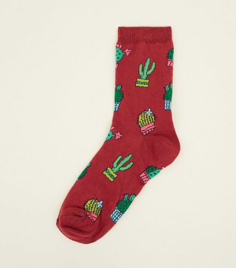1 pack burgundy cactus print socks