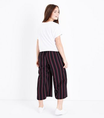 Teens Red Stripe Cropped Wide Leg Trousers New Look