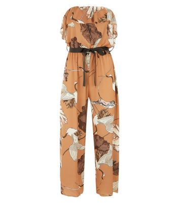 Loving This Brown Bird Print Jumpsuit New Look