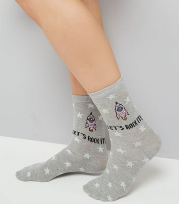 Grey Lets Rock It Socks New Look
