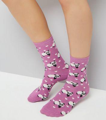 Light Purple Panda Print Socks New Look