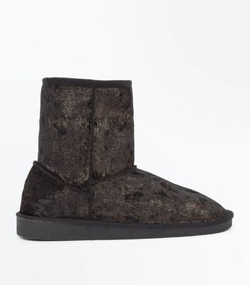Teens Black Glitter Velvet Faux Fur Trim Boots New Look